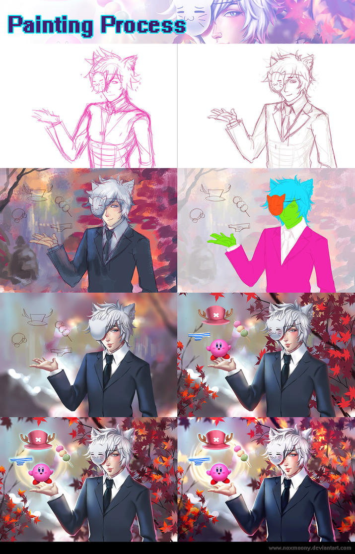 The Anime Man in autumn - Process Steps by Noxmoony
