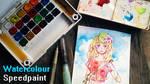 Ocean girl - Watercolour Speedpaint VIDEO PROCESS