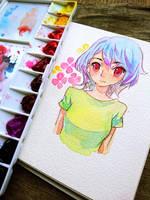 Watercolour doodle + speedpaint video by Noxmoony