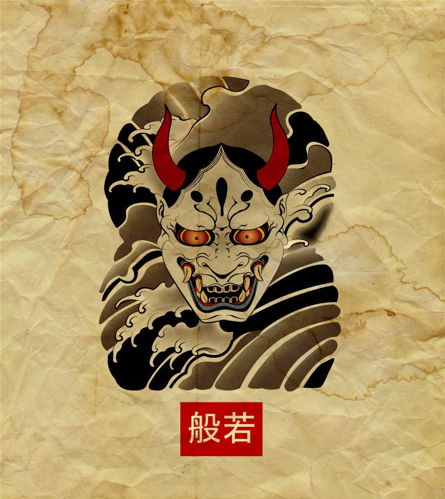 Японская маска демона ханья