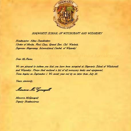 Official Harry Potter Acceptance Letter My hogwarts' acceptance letter