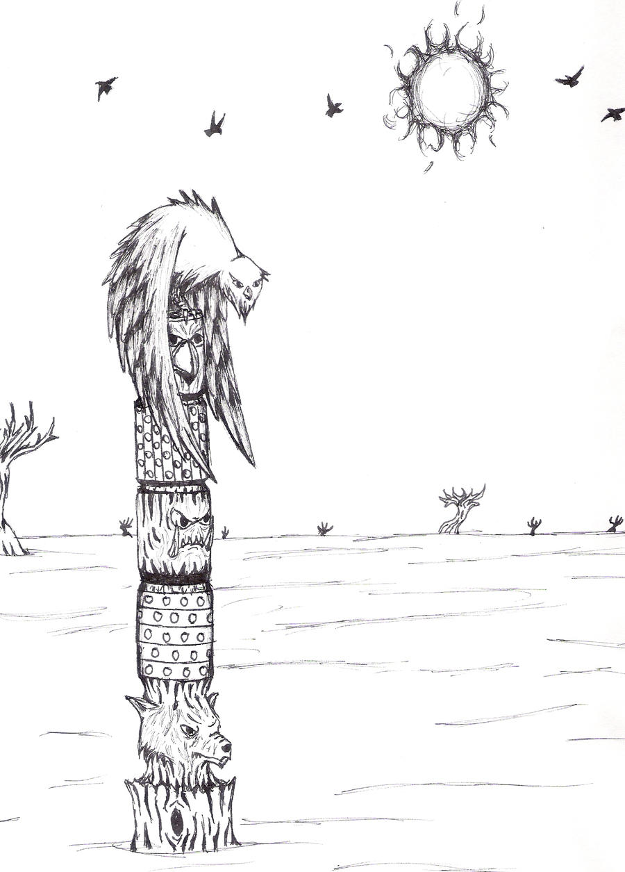 Totem Pole Drawing Totem Pole by Triadus