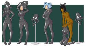 Girls as rubber aliens
