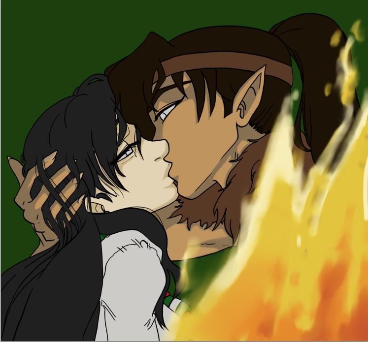 Kouga/Kagome Kiss by TerriDelgado on DeviantArt