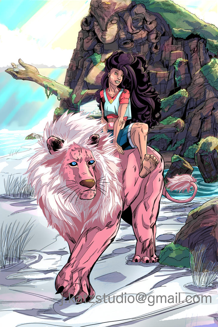 Steven Universe Stevonnie and Lion! With the gem temple. Posted pencil drawing a couple of weeks ago. Inked and colored on Clip Studio Paint Pro