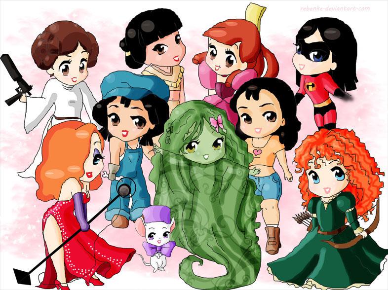 16 Best Cute Disney Characters Images On Pinterest: Chibi-Disney Princesses And Girls By Rebenke On DeviantArt