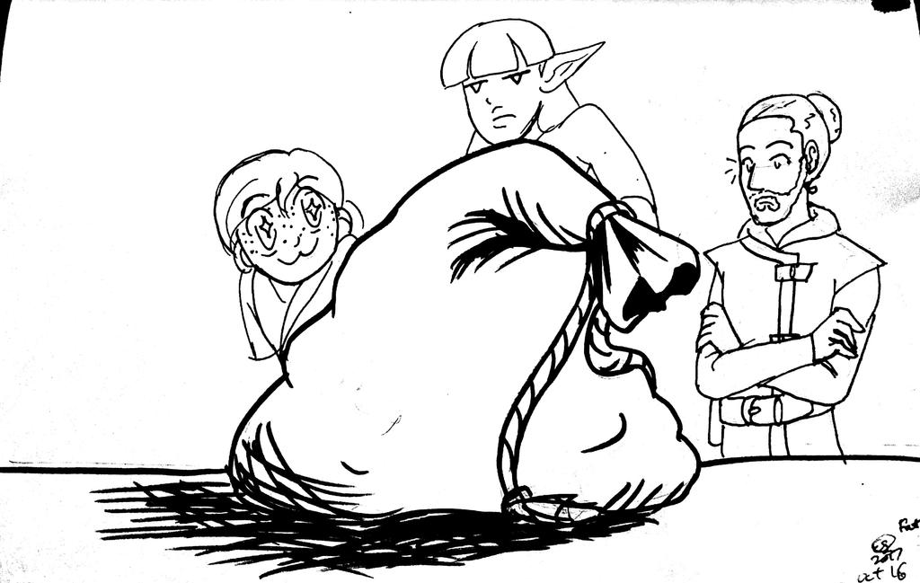 Inktober 2017 Day 16 Fat (bag of coin) by LizDoodlez