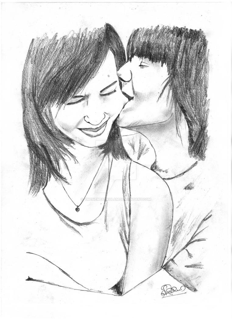 The Love Bite Pencil Portait By VMChempankulam