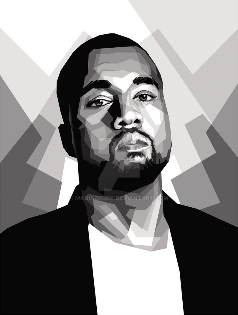 Kanye West Rapper Singer Black And White Painting By Madiazroby On Deviantart