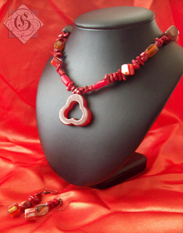 Red Bead Necklace by Glory5641