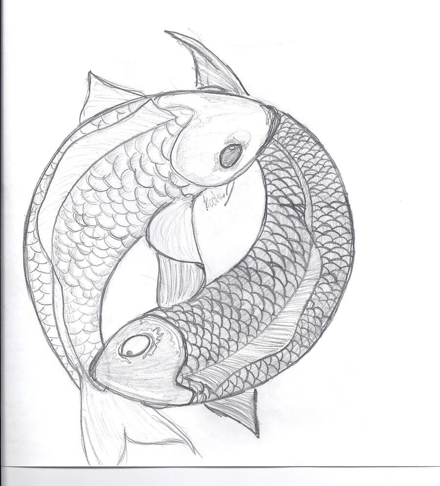 Koi Fish Ying And Yang Drawing Tattoo Black And White Jidiworkout Co