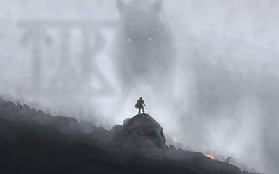 Tyr vs Fenrir at Ragnarok