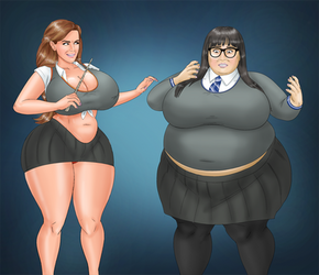 COMM: Buxom Hermoine and Fat Nerdy Cho by saturnxart