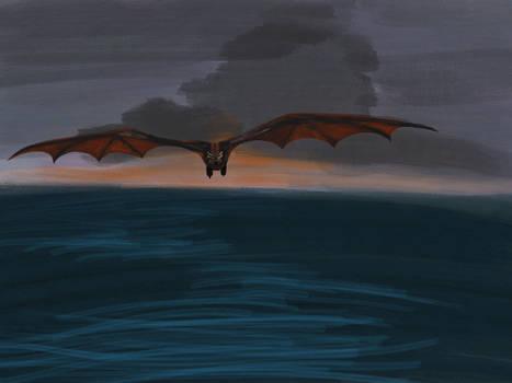 Drogon over the Narrow Sea