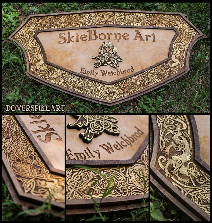 Wood-N-Gold::SkieBorne Arts Sign by BonePileStudio