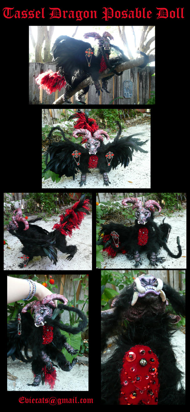 Tassel Dragon Posable Art Doll by Eviecats