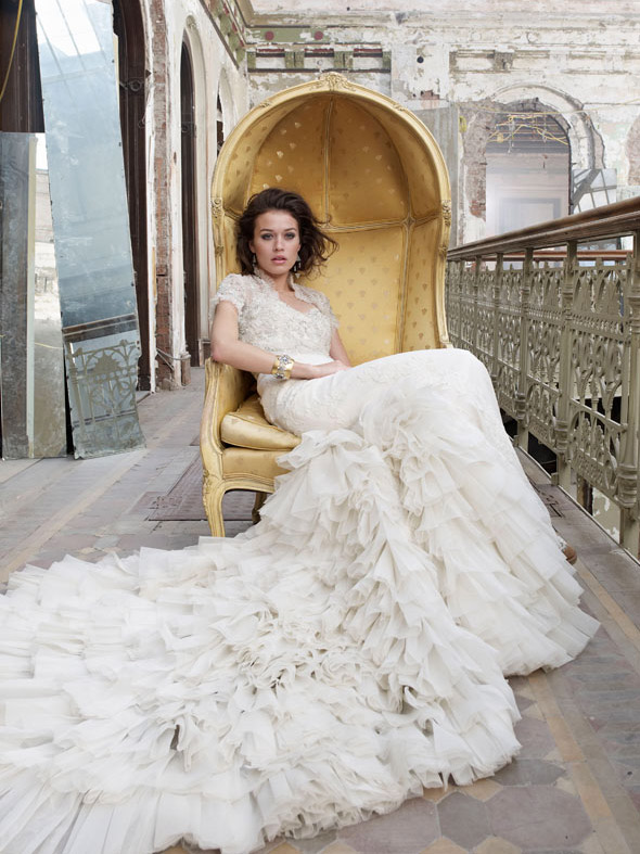 baroque inspired vintage wedding dress with lace by foxgowns on