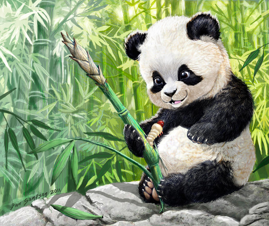 cute panda cub and grub by Psithyrus
