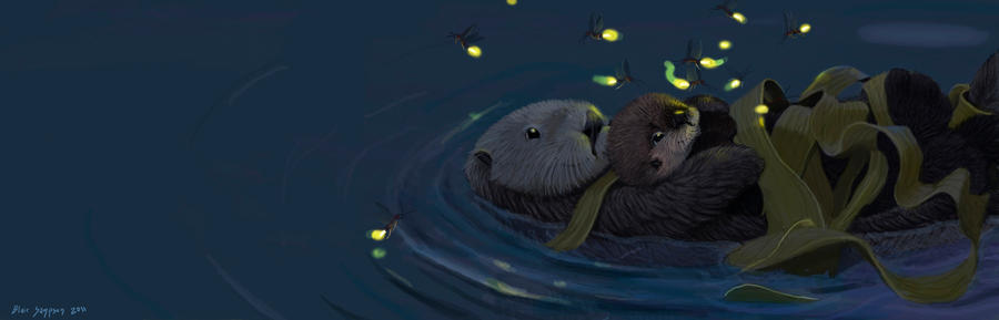 Sea Otters Bookmark by Psithyrus