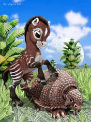 Paleo Buddies 2 Hippy and Glyphie by Psithyrus