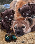 Mama git up, hyena cubs with mom