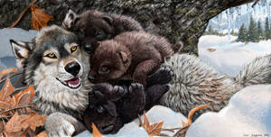 Wolf Mother's Day and her Pile of Puppies by Psithyrus