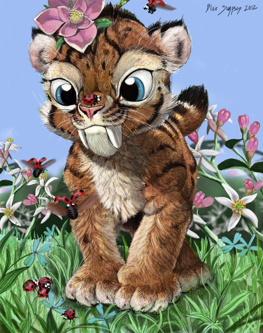 ACEO SMILODON CUB AND LADYBUG ARMY by Psithyrus