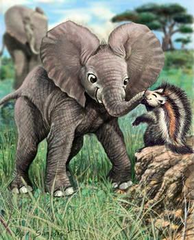 Little Barak and a Fluffy Rat, baby elephant by Psithyrus