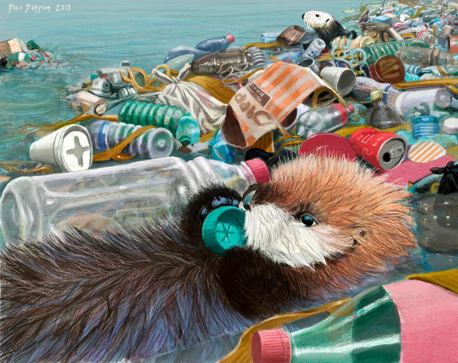 Sea Otters, Please keep our home clean by Psithyrus