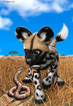 African Wild Dog Pup and Baby Snake Compare Spots