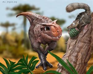 Baby Carnotaurus scares a little mammal