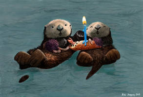 Sea Otter Birthday Card