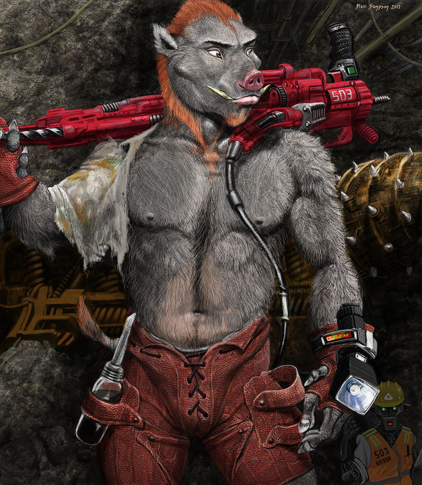 Iridium Miner, human-animal hybrid concept by Psithyrus