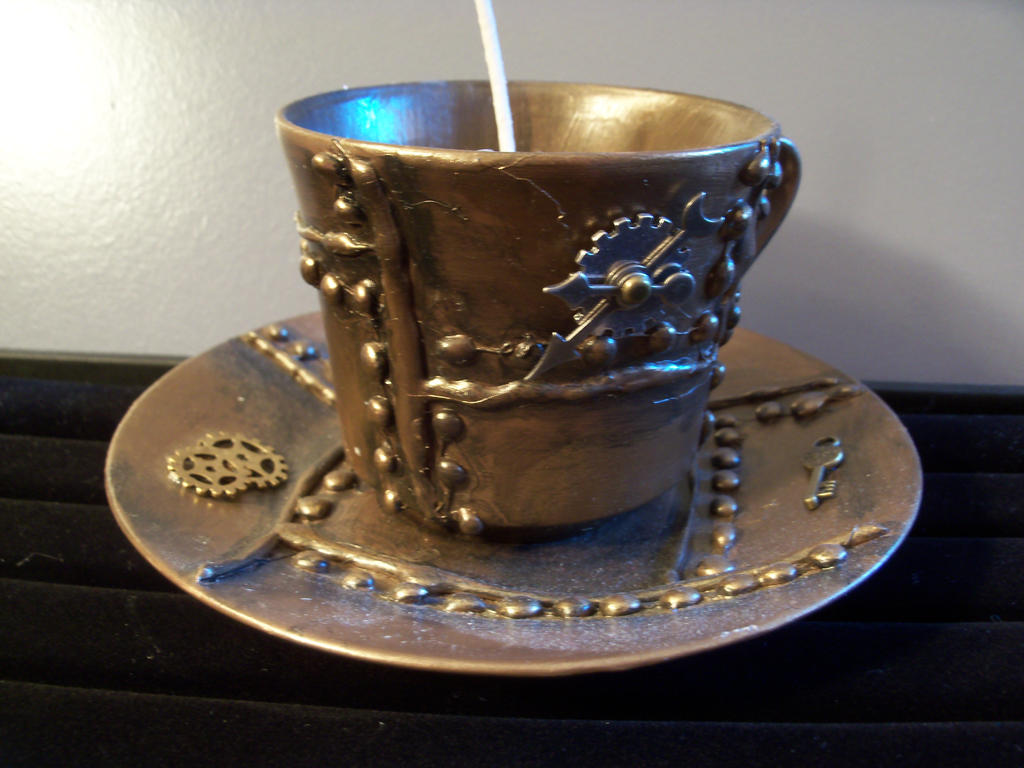 Steampunk Teacup Candle by TheTwinBin