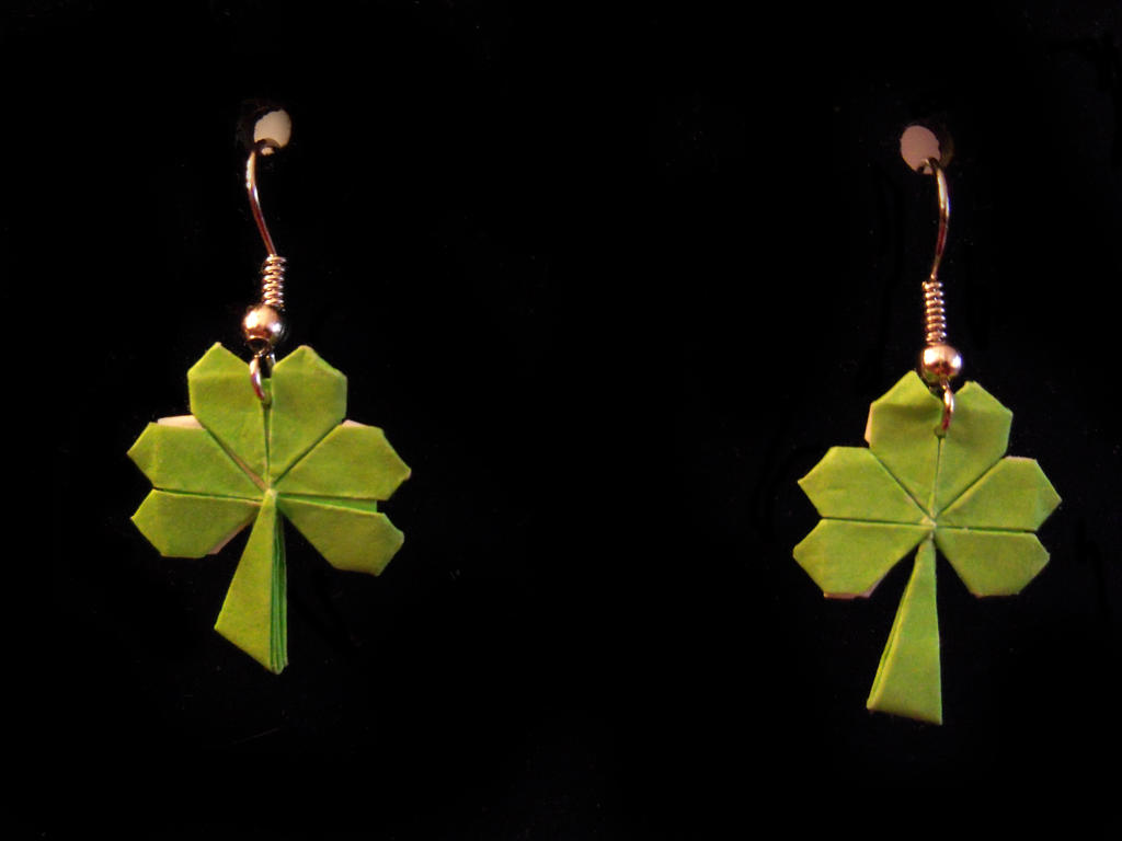 Three Leaf Clover Origami Earrings by TheTwinBin - photo#41