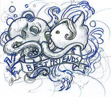 Octopus n Mola Mola by Saintbirdy
