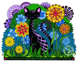 Cat In Flowers by Myrret