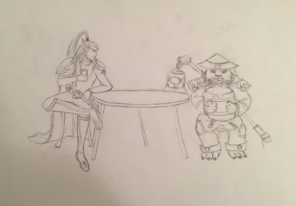 Elf Rogue and Drunk Panda Monk by Moontessa