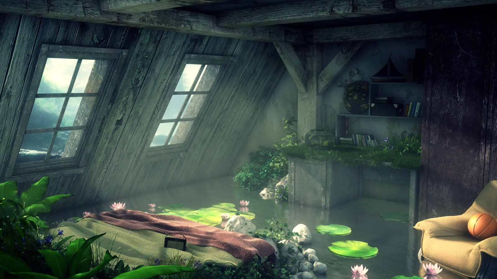 Forest in the attic by hoangphamvfx on deviantart for Nature room wallpaper