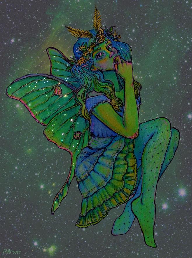 luna moth fairy by flowwwer