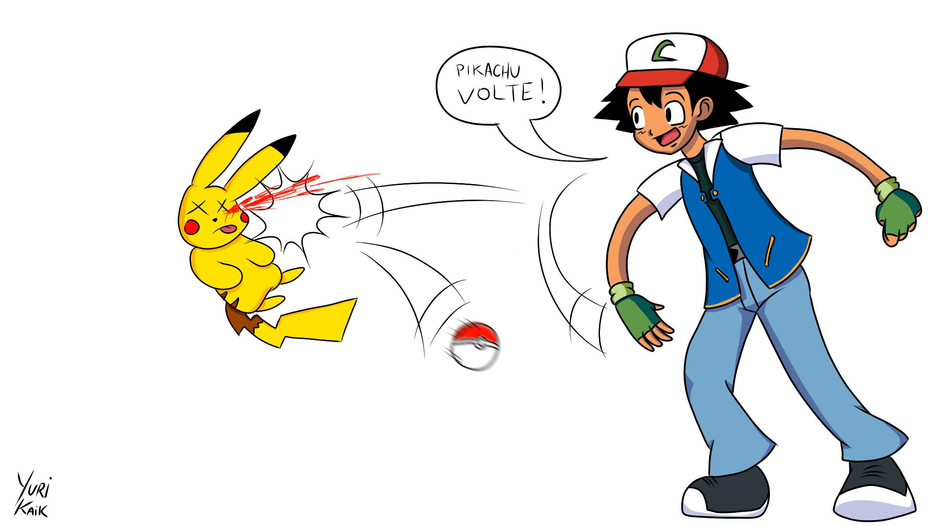 Pokemon Ash Saves Pikachu Images