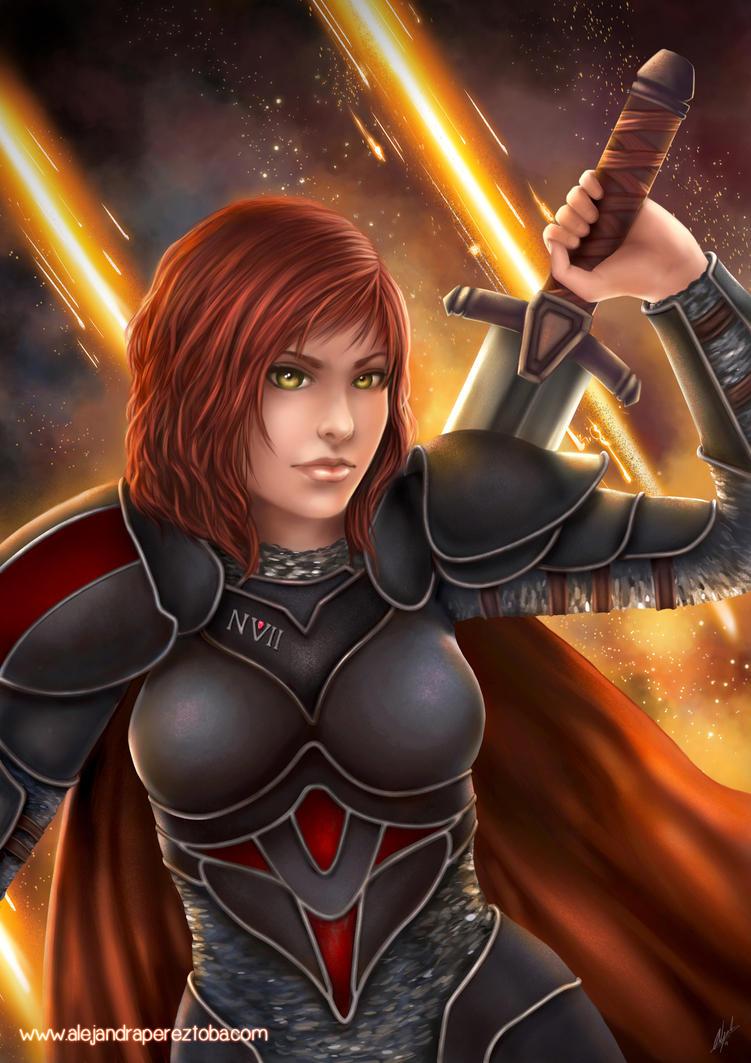 Medieval Commander Shepard by Alejandra-perez