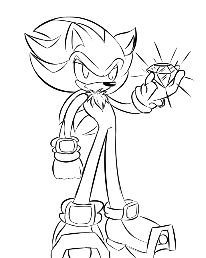shadow coloring page - super sonic super shadow free colouring pages