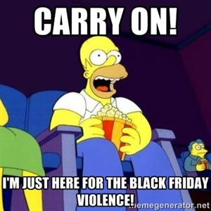 Homer Simpson on Black Friday meme by PurplePhoneixStar
