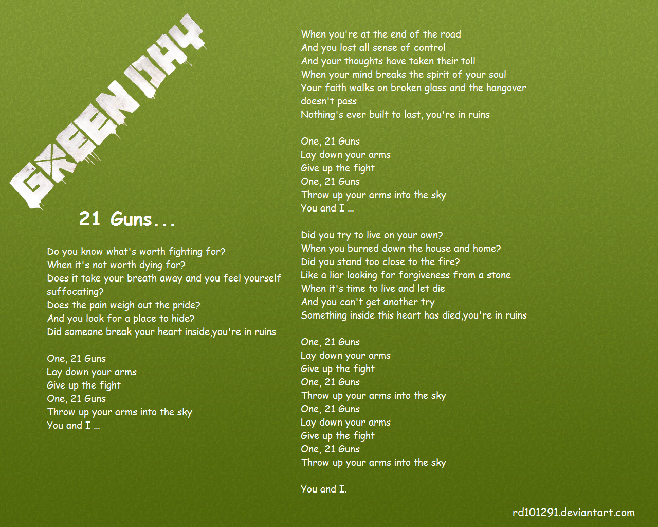 Green day - 21 Guns by rd101291 on DeviantArt