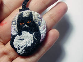 Cat and skull embroidery necklace