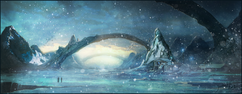 River..... Frozen_river___speedpainting_by_jonathandevos-d4yakij