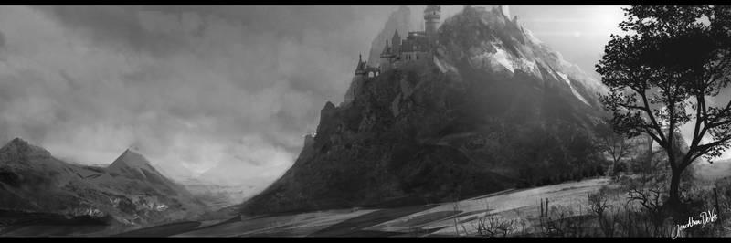 Castle on a mountain studie