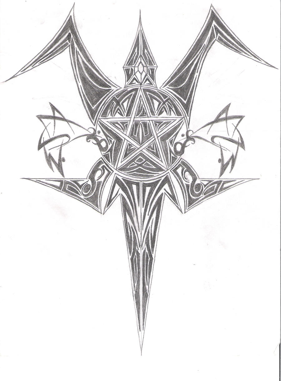 tribal pentagram back piece by merlin2112 on deviantart. Black Bedroom Furniture Sets. Home Design Ideas
