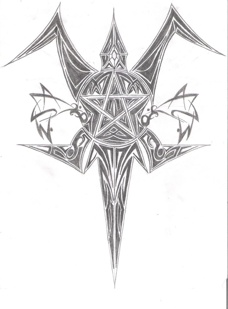 tribal pentagram back piece by merlin2112 on deviantart. Black Bedroom Furniture Sets. Home Design Ideas